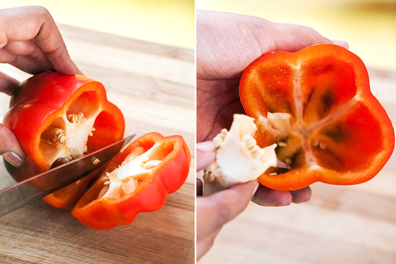 Preheat the oven to 400 degree F. Meanwhile, slice the capsicums from the top, remove and discard the seeds. You are almost there!