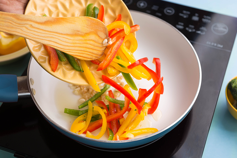 It's time for your veggies now! Start with the peppers and capsicum…
