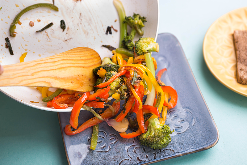 Slowly transfer the veggies onto a platter, cover them and keep warm. And you thought healthy cannot be tasty?